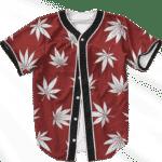 Marijuana Leaves Cool All Over Print Dark Red Baseball Jersey