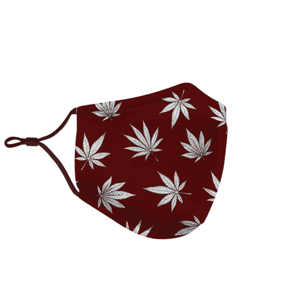 Marijuana Leaves Cool All Over Print Dark Red Face Mask