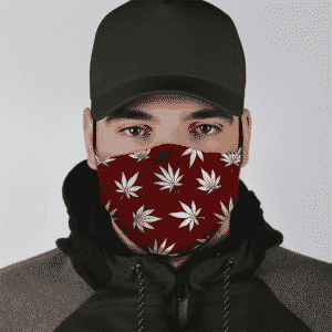 Marijuana Leaves Cool All Over Print Dark Red Face Mask - lifestyle 1