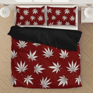 Marijuana Leaves Cool All Over Print Dark Red Bedding Set