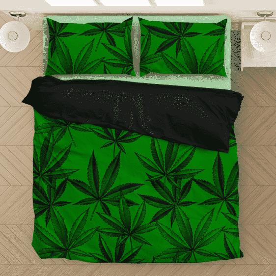 Marijuana Leaves Dope Dark Green Minimalist Awesome Bedding Set