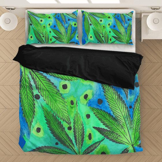 Marijuana Leaves Relaxing Art Green & Blue Bedding Set