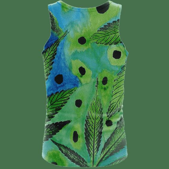 Marijuana Leaves Relaxing Poster Art Green Blue Wonderful Tank Top - back
