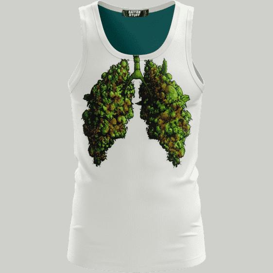 Marijuana Lungs Ganja Weed 420 Hemp White Simple Tank Top
