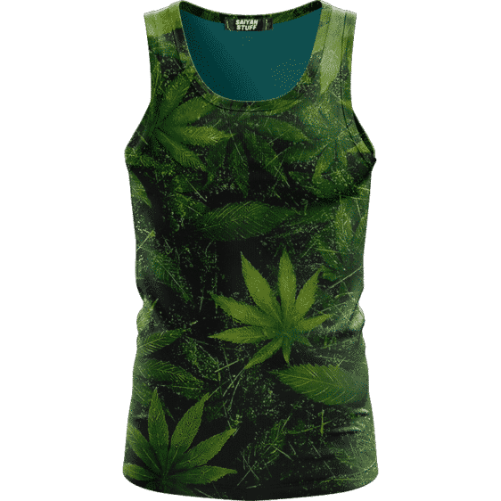 Marijuana Mary Jane 420 Weed Leaves All Over Green Tank Top