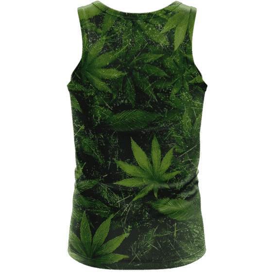 Marijuana Mary Jane 420 Weed Leaves All Over Green Tank Top - back