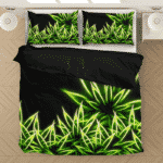 Marijuana Neon Leaf Minimalist Design 420 Weed Cool Bedding Set
