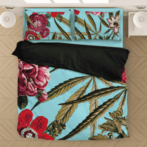 Marijuana Weed 420 Hemp Floral Pattern Sky Blue Bedding Set
