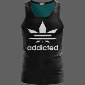 Marijuana Weed Adidas Addicted Logo Black Minimalist Tank Top