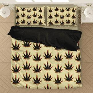 Marijuana Weed Trippy Colors Cool Seamless Pattern Bedding Set