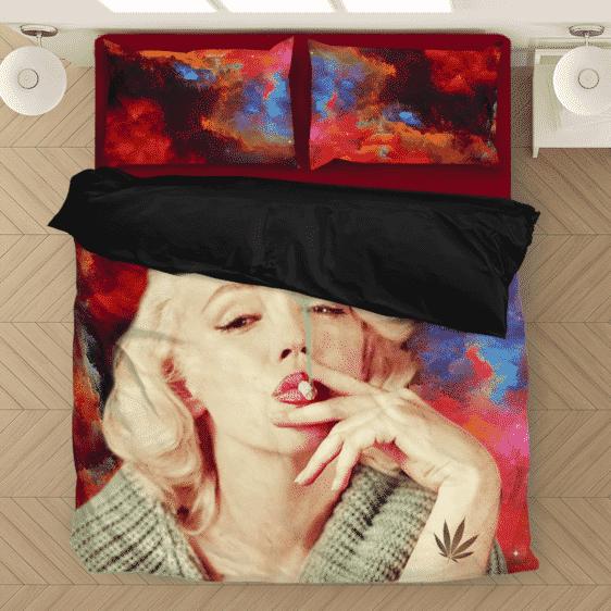 Marilyn Monroe Smoking Weed Amazing Rainbow Art Bedding Set
