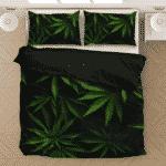 Mary Jane Weed 420 Kush Leaves Black Awesome Bedding Set