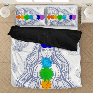 Meditating Girl With 7 Chakras Simple White Bedding Set