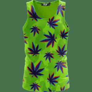 Neon Green Camouflage 3D Weed Pattern 420 Marijuana Tank Top