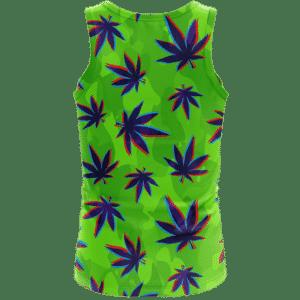 Neon Green Camouflage 3D Weed Pattern 420 Marijuana Tank Top Back