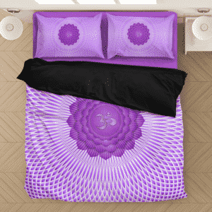 Sahasrara Crown Chakra Awakened OM Symbol Purple Bedding Set