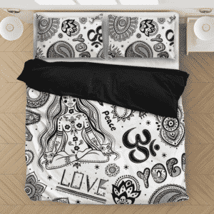 Seamless Yoga Pattern Love Peace White Black Bedding Set