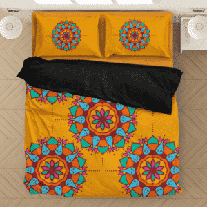 Simple Enlightenment Yoga Mandala Pattern Orange Bedding Set