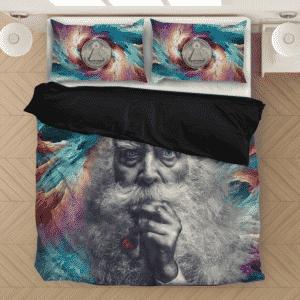 Smoking Marijuana Old Man Mystical Illuminati Bedding Set