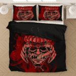 Smoking Samurai Dark Red Japanese Theme Awesome Bedding Set