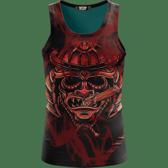 Smoking Samurai Dark Red Japanese Theme Awesome Tank Top
