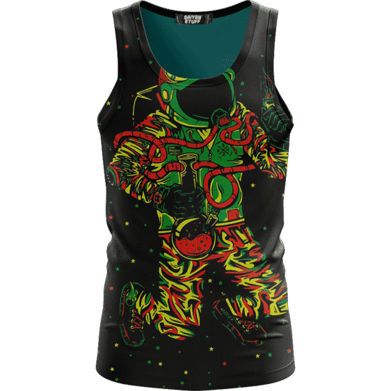 Space Man Astronaut Galaxy Smoking Bong Spaced Out Tank Top
