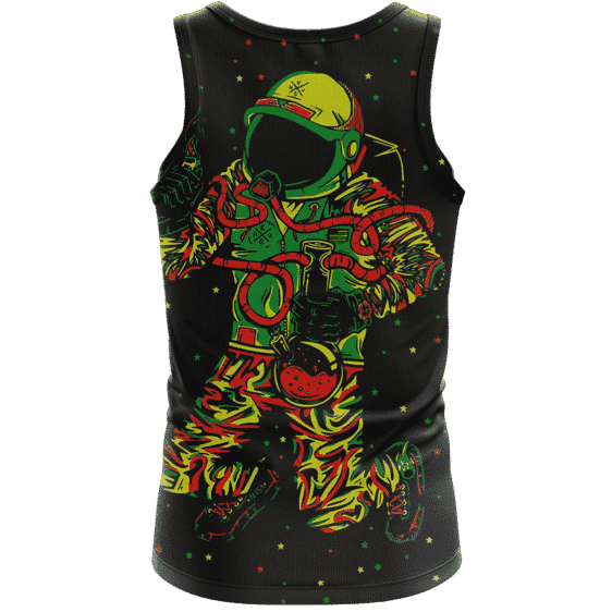 Space Man Astronaut Galaxy Smoking Bong Spaced Out Tank Top - back