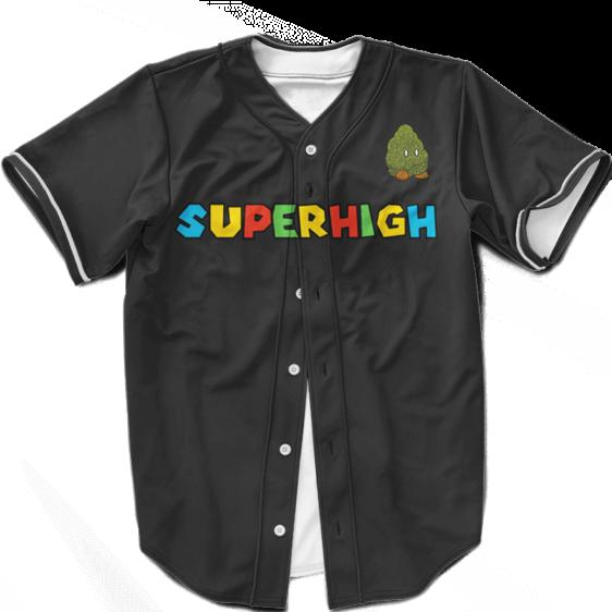 Super High Mario Parody Cute Bomb Weed Nug Dope Baseball Jersey
