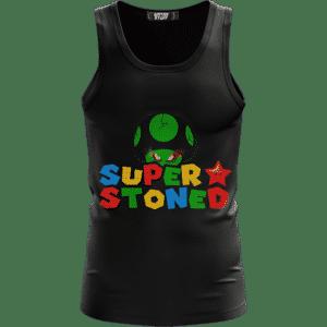 Super Stoned Mushroom Weed Marijuana Mario Black Tank Top