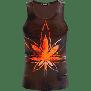 Tie Dye Marijuana Leaf Fire Effect 420 Marijuana Tank Top
