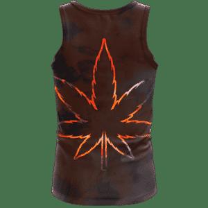 Tie Dye Marijuana Leaf Fire Effect 420 Marijuana Tank Top Back