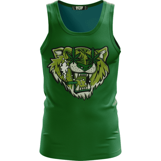 Tiger Smoking Doobie Weed Marijuana Green Awesome Tank Top