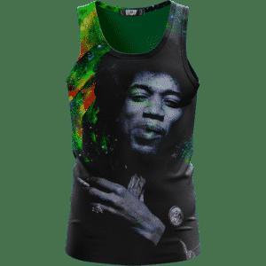Trippy Galaxy Jimi Hendrix Smoking Joint 420 Marijuana Tank Top