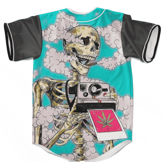 Trippy Stoned Skull Taking A Photo 420 Weed Baseball Jersey