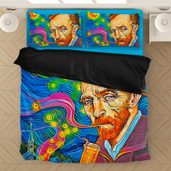 Van Gogh Starry Night Smoking Bong Trippy Bomb Bedding Set
