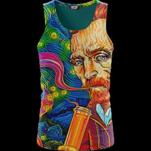 Van Gogh Starry Night Smoking Bong Trippy Dope Tank Top