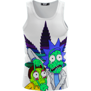 Weed Adventures of Rick and Morty Melting Trippy 420 Tank Top
