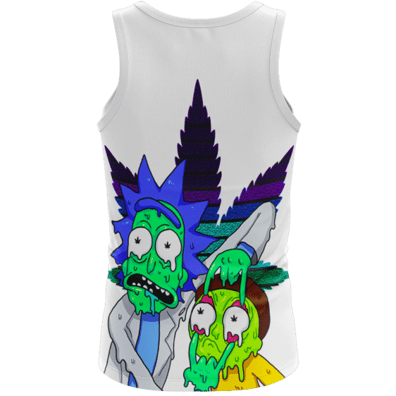 Weed Adventures of Rick and Morty Melting Trippy 420 Tank Top - back