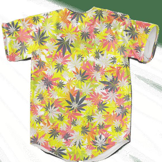 Weed Hemp Marijuana Pattern Colorful Print Baseball Jersey