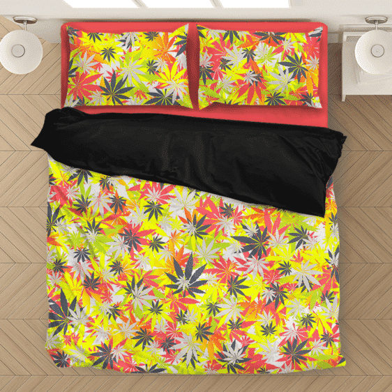 Hemp Marijuana Pattern Colorful All Over Print Bedding Set