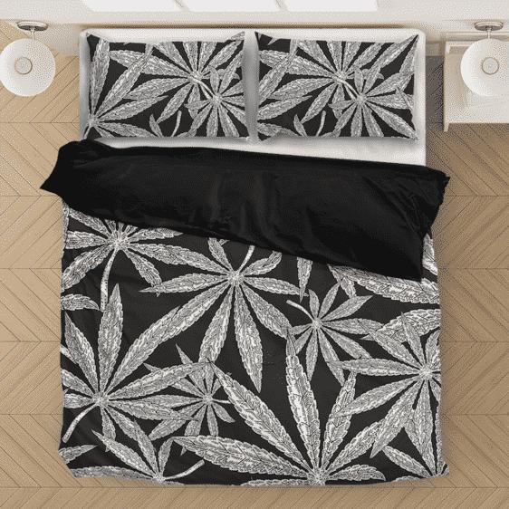 Weed Kush Mary Jane Leaves Black White Elegant Bedding Set