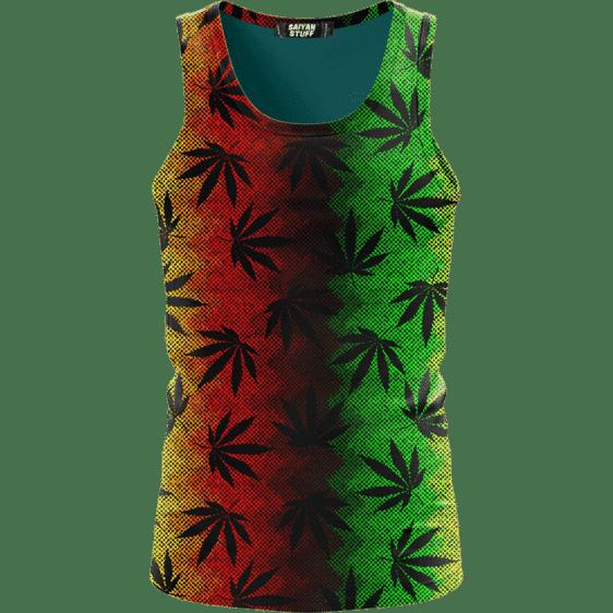 Weed Leaves Marijuana 420 Cool Reggae Pattern Awesome Tank Top
