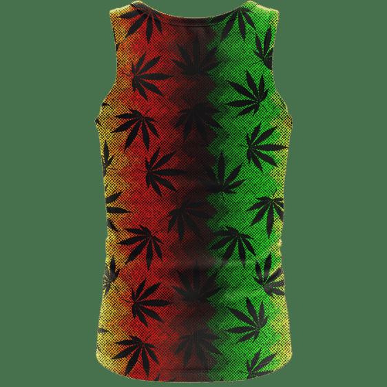 Weed Leaves Marijuana 420 Cool Reggae Pattern Awesome Tank Top - back