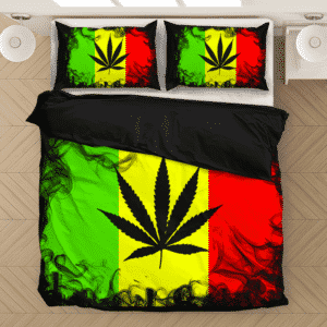 Weed Logo Reggae Colors Black Smoke 420 Ganja Cool Bedding Set