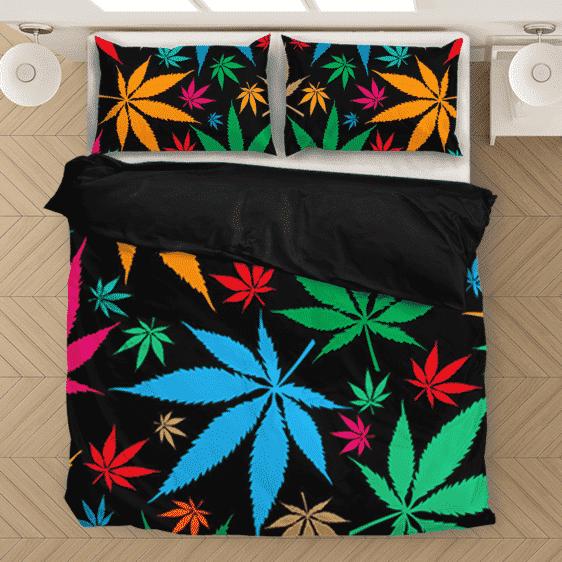 Weed Marijuana Colorful Seamless Pattern Dope Bedding Set