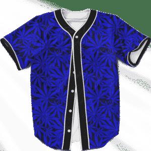 Weed Marijuana Leaves Navy Blue Pattern Cool Baseball Jersey