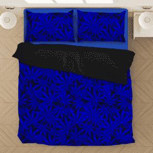 Weed Marijuana Leaves Awesome Navy Blue Cool Bedding Set