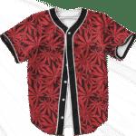 Weed Marijuana Leaves Awesome Red Pattern Cool Baseball Jersey