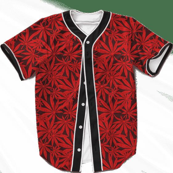 420 Marijuana Leaves Awesome Red Pattern Cool Baseball Jersey