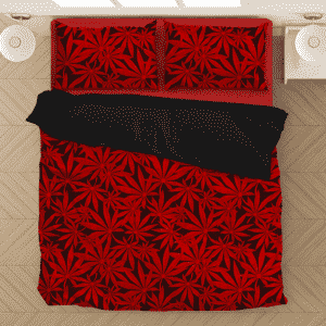 Weed Marijuana Leaves Awesome Red Pattern Cool Bedding Set